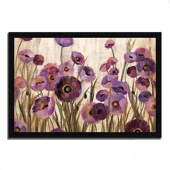 buy pink and purple flowers by silvia vassileva 39 x 27 framed painting print black frame by. Black Bedroom Furniture Sets. Home Design Ideas