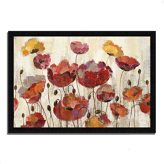 buy poppies in the rain by silvia vassileva 39 x 27 framed painting print black frame by. Black Bedroom Furniture Sets. Home Design Ideas
