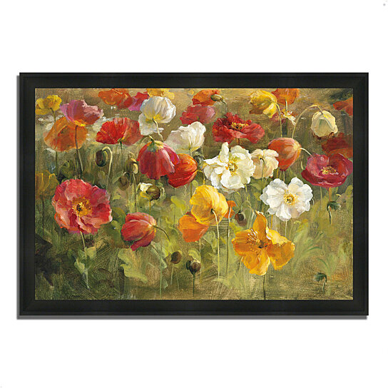 buy poppy field by danhui nai 39 x 27 framed painting print silky black frame by tangletown. Black Bedroom Furniture Sets. Home Design Ideas