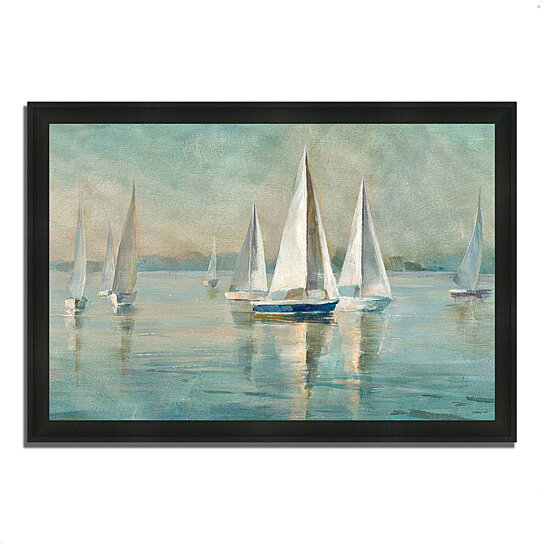 buy sailboats at sunrise by danhui nai 39 x 27 framed painting print silky black frame by. Black Bedroom Furniture Sets. Home Design Ideas