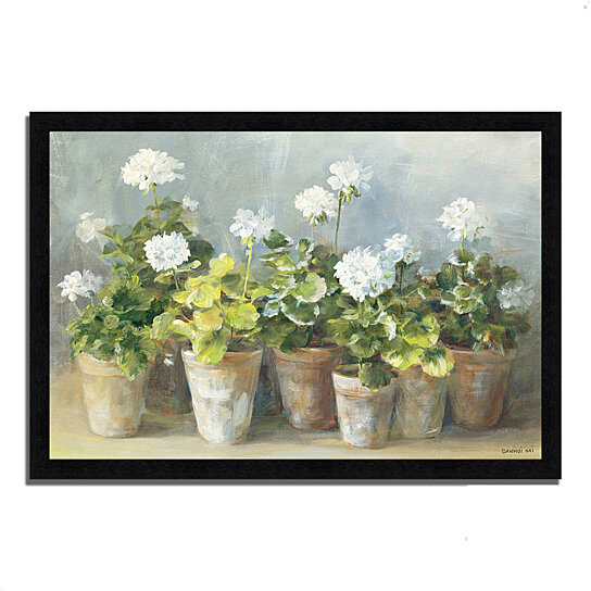buy white geraniums by danhui nai 39 x 27 framed painting print black frame by tangletown. Black Bedroom Furniture Sets. Home Design Ideas