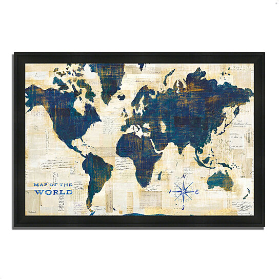 buy world map collage by sue schlabach 39 x 27 framed painting print silky black frame by. Black Bedroom Furniture Sets. Home Design Ideas