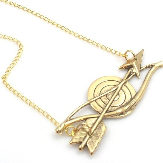 Buy Vintage Bow and Arrow Gold Necklace by Tasha Hussey ... Gold Bow And Arrow