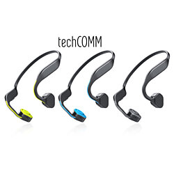 TechComm F1 Bone Conduction Wireless Bluetooth Titanium Water-resistant Open Ear Sports Headphones with HiFi Stereo and Mic