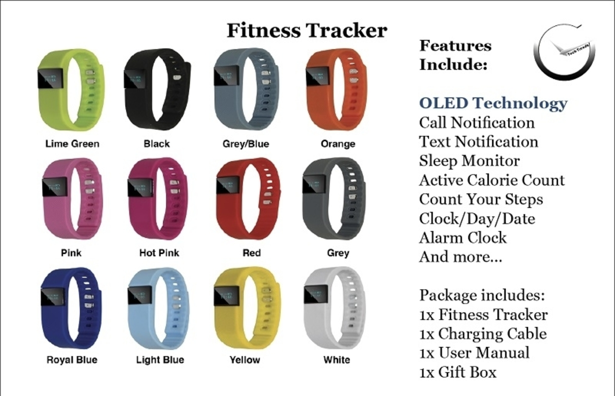 Smart Fitness/Activity tracker watch with tons of features - 12 colors to choose from - Black 577c24a78a3d6f96518b4642