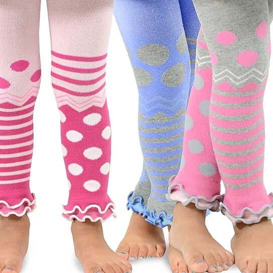 TeeHee Kids Girls Fashion Footless Tights 3 Pair Pack Stripe with Dots