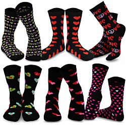 TeeHee Valentine's Day Heart and Love Women's Crew Socks 6-Pack
