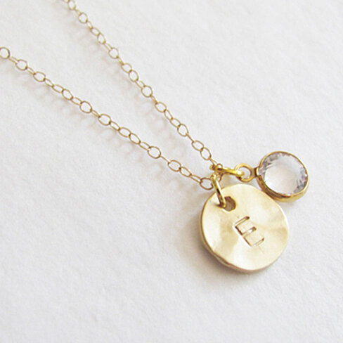Swarovski 14K Gold Initial Charm Necklace