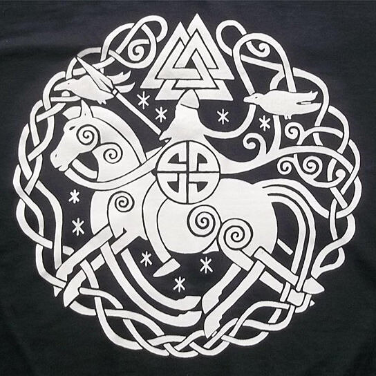 Buy Odin Sleipnir Valknut Rune Norse Vikings Crew T Shirt