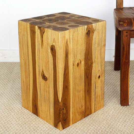 Buy block hollow teak wood end table 12x12x18 inch h w eco for 12 inch end table
