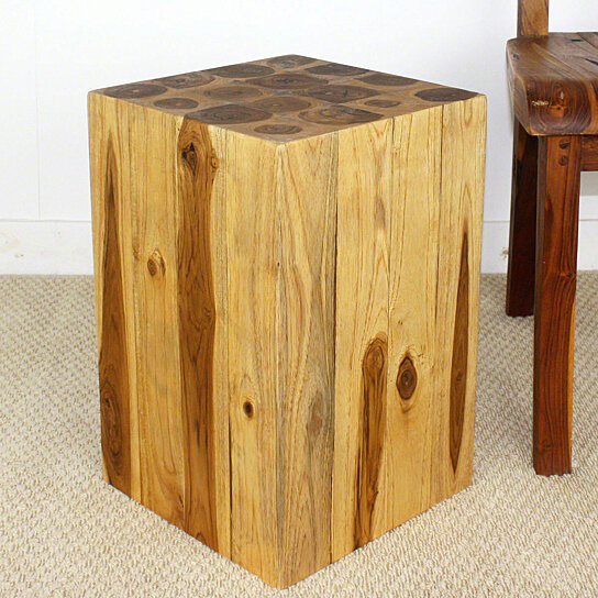 Buy block hollow teak wood end table 12x12x18 inch h w eco for 12 x 12 accent table