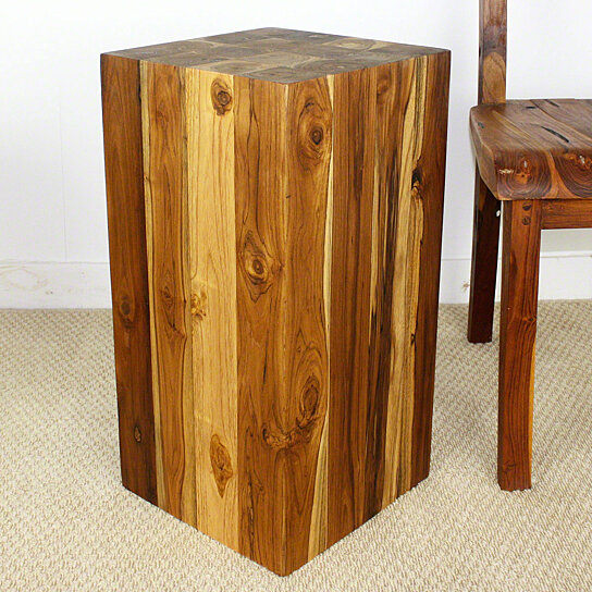 Buy block hollow teak wood end table 12x12x23 inch h w eco for 12 inch accent table