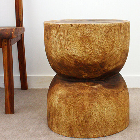 Buy d bell end table monkey pod wood 16 d x 20 inch h in for Table 52 petroleum