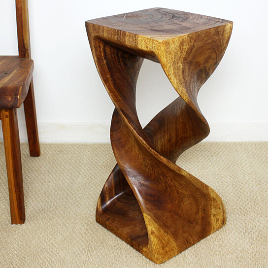 Buy Double Twist Stool Sustainable Wood 12x12x26 Inch Ht W