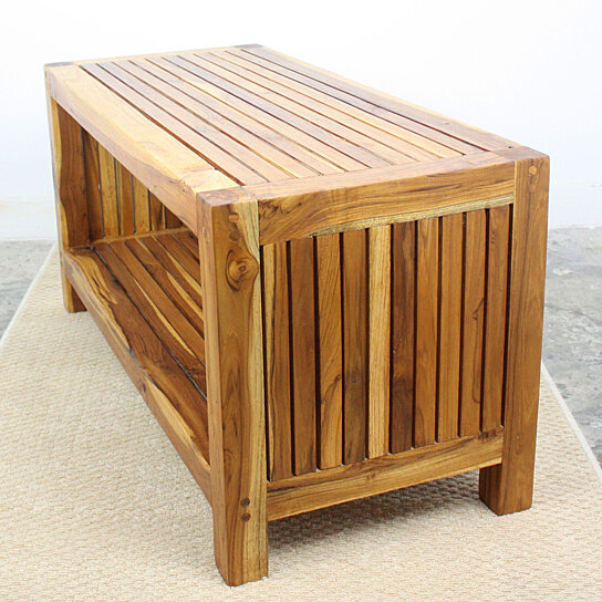 Teak Oil Coffee Table: Buy Farmed Teak Slat Coffee Table W Shelf 36 X 16 X 18 In