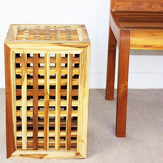 Buy lattice work farmed teak wood end table 12x12x18 inch for 12 inch accent table