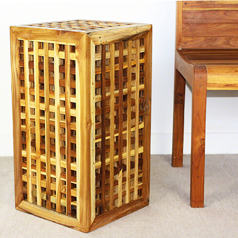Buy lattice work farmed teak wood end table 12x12x23 inch for 12 inch accent table