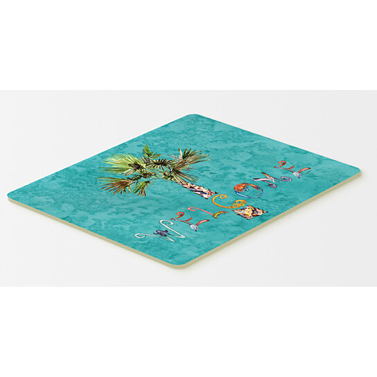 Buy Welcome Palm Tree On Teal Kitchen Or Bath Mat 20x30