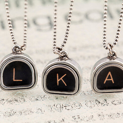 Shaped Keys Personalized Jewelry Antique Silver Choose Any Letter