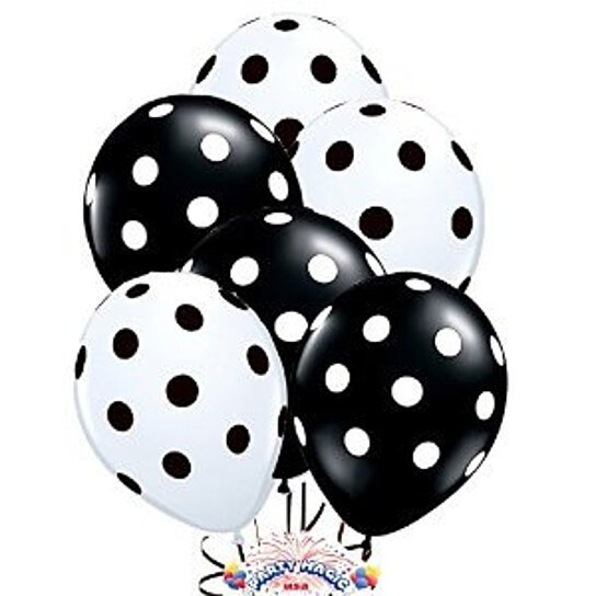 Buy 50 black and white large polka dots balloons qualatex for Black and white polka dot decorations