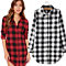 Fashion Women Full Sleeve Plaid  Casual Lapel Button Down Blouse Shirt