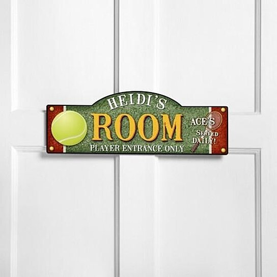 Buy personalized kids room sign tennis by the house of for Kids room signs