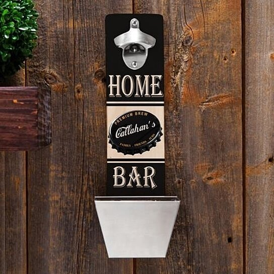 Buy Personalized Wall Mounted Bottle Opener And Cap Catcher Premium Brew By The House Of