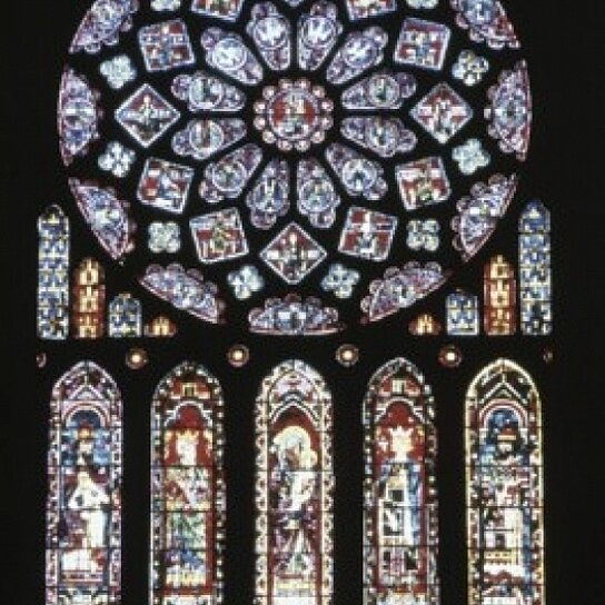 Buy rose window and lancets stained glass chartres for 18 x 24 window
