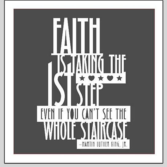 Buy faith is taking the first step vinyl wall lettering for Nice white wall decal quotes