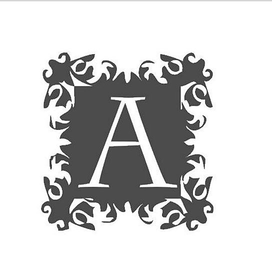Buy initial monogram vinyl wall lettering wall quotes for Black wall letters