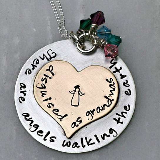 Buy hand stamped jewelry personalized necklace grandma for Grandmother jewelry you can add to