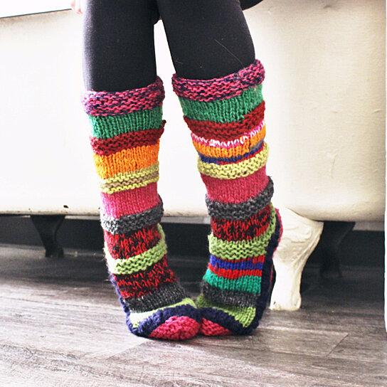 5b4bc77bdd20 Buy Red Hand Knit Wool Long Tibetan Socks by Tibetan Socks on OpenSky
