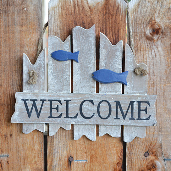 Buy welcome sign distressed wood nautical home decor by for I sign decoration