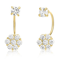 10K Yellow Gold Front-back Flower Earrings with Simulated Garnet CZ -April Birthstone