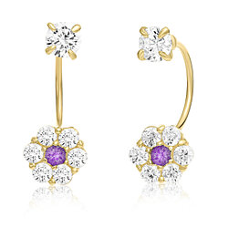 10K Yellow Gold Front-back Flower Earrings with Simulated Garnet CZ -Febuary Birthstone