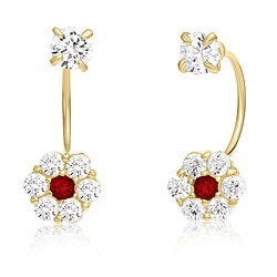 10K Yellow Gold Front-back Flower Earrings with Simulated Garnet CZ -January Birthstone