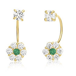 10K Yellow Gold Front-back Flower Earrings with Simulated Garnet CZ -May Birthstone