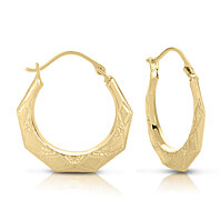 10KY Gold Etched Hexagon Round Hoop Earring