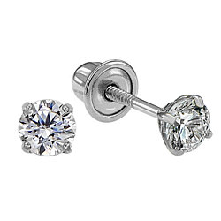 14k White Gold Solitaire Round Cubic Zirconia CZ Stud Earrings in Secure Screw-backs