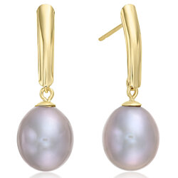 14k Yellow Gold Freshwater Cultured Drop Grey Pearl Earring