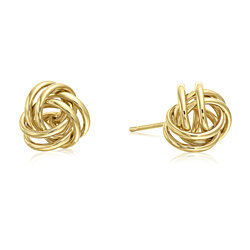 14k Yellow Gold High Polished Love Knot Stud Earrings - 9mm