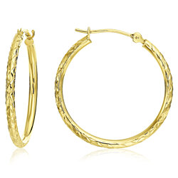 14k Yellow Gold X-pattern Diamond-cut Round Hoop Earrings -1'' Diameter