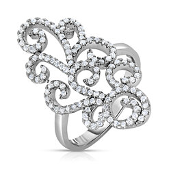 Sterling Silver .925 Open Scroll CZ Ring
