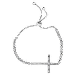 Sterling Silver Adjustable Cross Bracelet with Bezel-set Cubic Zirconia