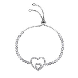Sterling Silver Adjustable Double Open Heart Bracelet with Bezel-set Cubic Zirconia