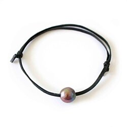 Giant Freshwater Pearl Leather Bracelet In 6 Colors