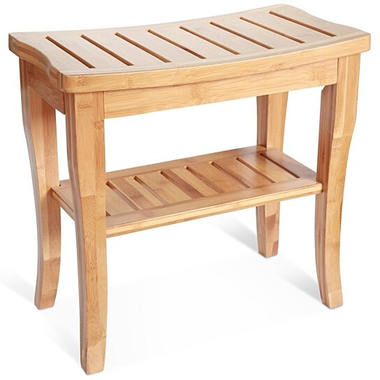 Buy Deluxe Bamboo Shower Seat Bench With Storage Shelf By Toilettree Products On Opensky