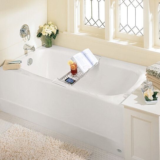 Buy Stainless Steel Bathtub Caddy with Extending Sides and Book ...
