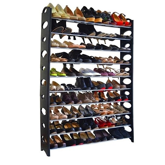 10 Tie Shoe Rack For 50 Pair Wall Bench