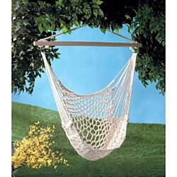 Cotton Rope Cradle Hammock Chair with Wood Stretcher holds 330lbs